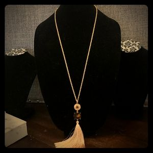 Jewelry - Long gold chain necklace with stone and tassel